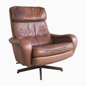 Danish Leather Reclining Armchair with Stitched Detail, 1970s