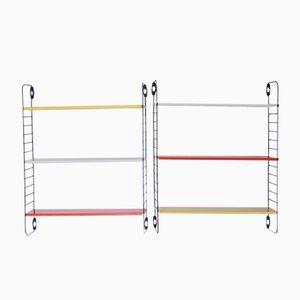 Kleine Farbige Mid-Century Metall Regale von A.D. Dekker für Tomado, 2er Set