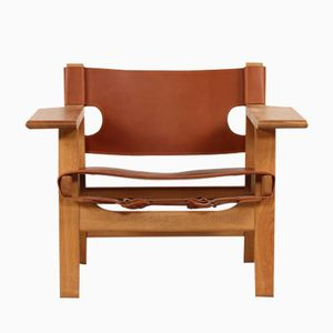 The Spanish Chair in Cognac Leather and Oak by Børge Mogensen for Fredericia Furniture, 1970s