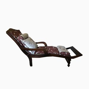 Vintage French Wooden Chaise Lounge with Cushions