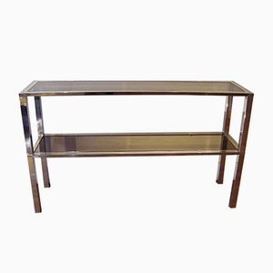 Mid-Century Italian Rectangular Brass and Glass Console Table by Romeo Rega, 1970s
