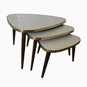 Tables Gigognes en Teck avec Plateau Triangle, Danemark, 1960s, Set de 3