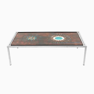 Attractive Vintage Rectangle Tile Coffee Table By Jacqueline Belarti