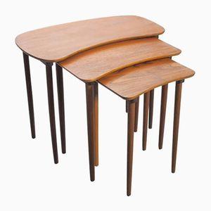 Tables Gigognes Incurvées Mid-Century en Teck