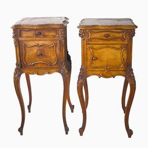 Tables de Nuit Louis XV Antiques sur Pieds Cabriole, Set de 2