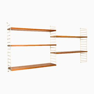 Vintage Swedish White String Wall System with Teak Shelves by Nisse Strinning