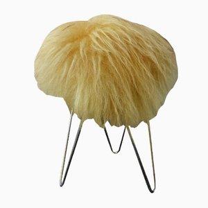 Hairy Stool on Metal Hairpin Legs, 1960s