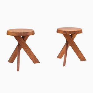 Mid-Century French S31 Tabourets by Pierre Chapo, 1960s, Set of 2