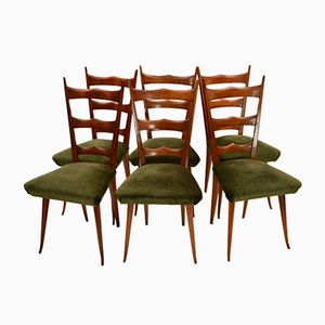 Italian Beech Chairs with Sprung Seats, 1950s, Set of 6