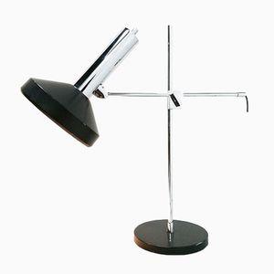 Chromed & Black Lacquered Steel Desk Lamp, 1950s