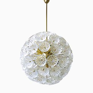 Grand Chandelier Starburst Sputnik avec 79 Fleurs en Verre, 1965