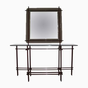 Italian Tubular Lacquered Brass Console with Mirror, 1970s