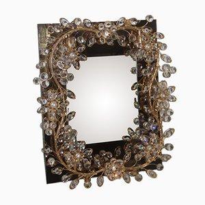 Spiegel mit Rahmen aus Vergoldetem Messing & Integrierten Kristallen, 1970er