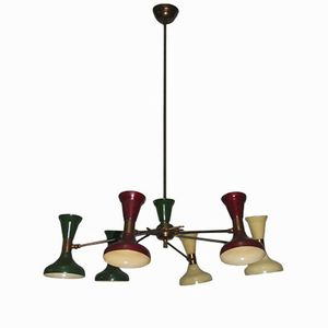 Italian Large Brass & Lacquered Aluminum Chandelier, 1950s