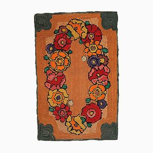 Antique American Handmade Hooked Rug, 1940s