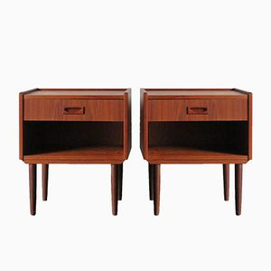 Danish Teak Night Stands, 1950s, Set of 2