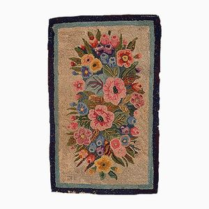Antique American Hooked Foral Bouquet Rug, 1880s