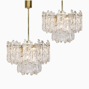 Chandeliers with Ice Glass Elements from Kinkeldey, 1970s, Set of 2