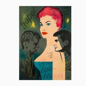 Poster vintage di Trapeze, Polonia, 1956