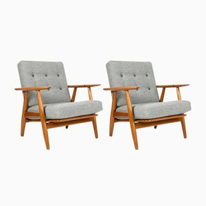 Model GE-240 Oak Cigar Chairs by Hans J. Wegner for Getama, 1950s, Set of 2