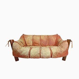 MP-211 Holz & Leder Zwei-Sitzer Sofa von Percival Lafer, 1974