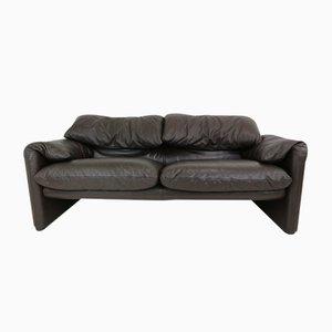 Vintage Leder Zwei-Sitzer Maralunga Sofa von Vico Magistretti für Cassina