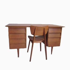 Vintage Oak Desk and Chair by Roger Landault