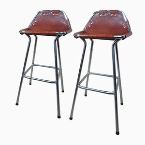 Leather Les Arcs Stools by Charlotte Perriand for Cassina, 1960s, Set of 2