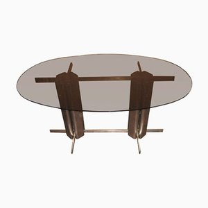 Vintage Oval St Gobain Glass Dining Table