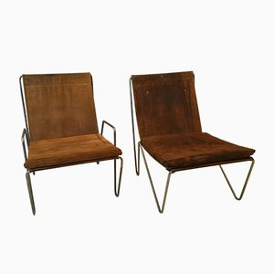 Vintage Suede Bachelor Chairs by Verner Panton for Fritz Hansen, 1955, Set of 2