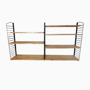 Industrial Metal and Light Wooden Shelving Unit, 1955