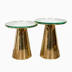 Brass Nesting Guéridons with Mirrored Tops, 1973