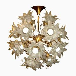Vintage Large Glass & Brass Flower Sputnik Chandelier