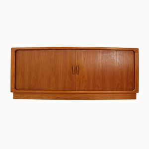 Danish Teak Credenza with Tambour Doors from Dyrlund, 1970s