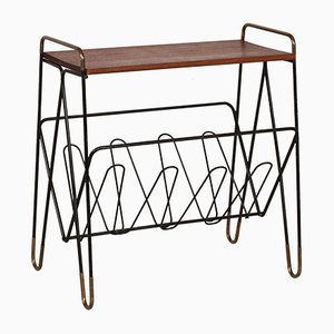 Danish Metal Magazine Rack with Teak Top, 1950s