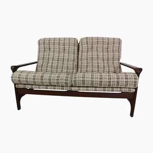 Vintage Organically Shaped 2-Seater Sofa in Rosewood