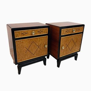 Italian Art Deco Rosewood Bedside Tables, 1940s, Set of 2