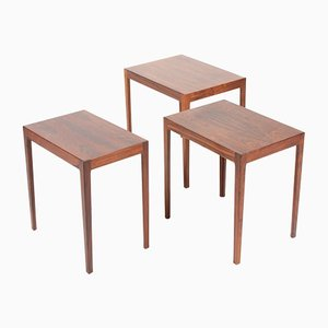 Mid-Century Danish Rectangular Rosewood Nesting Tables, Set of 3