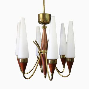 Chandelier in Teak and Brass by Bent Karlby for Lyfa, 1960s
