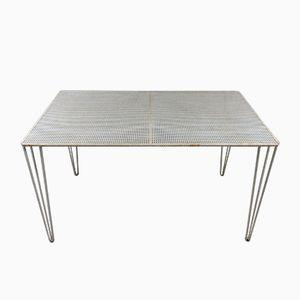 Table Vintage en Acier Blanc avec Plateau Perforé