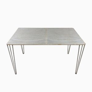 Vintage White Steel Table with Perforated Top