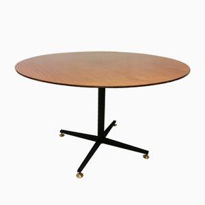 Runder Italienischer Tisch aus Schwarz Lackiertem Metall & Holz, 1960er