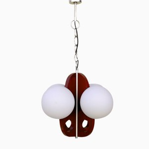 Vintage Wood and Glass Globes Chandelier, 1977