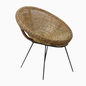 Italian Round Rattan Lounge Chair, 1950s