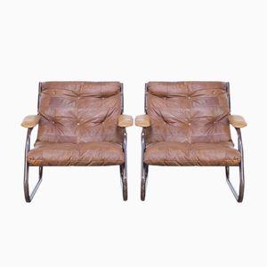Cognacfarbene Vintage Leder Flickwerk Sessel, 1970er, 2er Set