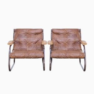 Vintage Cognac Leather Patchwork Lounge Chairs, 1970s, Set of 2
