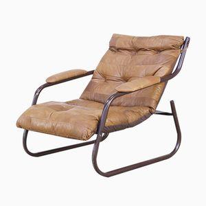 Vintage Cognac Leather Patchwork Lounge Chair, 1970s