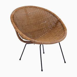 Chaise en Osier sur Pieds Tubulaires, 1950s
