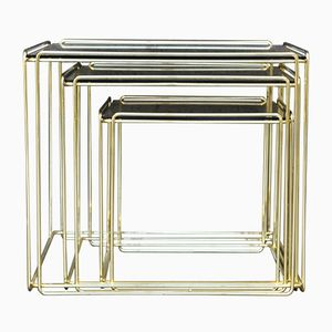 Vintage Gilded Isocele Nesting Tables by Max Sauze, 1970s