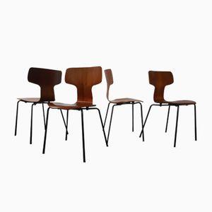 Modell 3103 Teak Hammer Stühle von Arne Jacobsen für Fritz Hansen, 1963, 4er Set